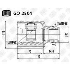 ШРУС внутренний правый Mazda 3 1.5 (05-) (нар:28/вн:22) (GO 2504) TRIALLI