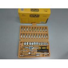 Набор насадок торцевых 24T CrV стандарт 1/4 251546 (пр-во СИЛА) 46 предметов.