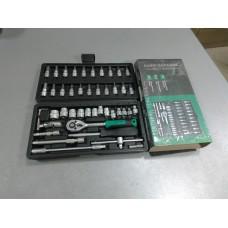 Набор насадок торцевых 72T CrV стандарт 1/4 252046 (пр-во СИЛА) 46 предметов NEW